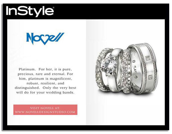 Novell's classic wedding bands and engagement as featured in In Style's online lookbook.