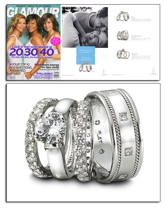Classic platinum wedding bands and engagement ring from Novell.