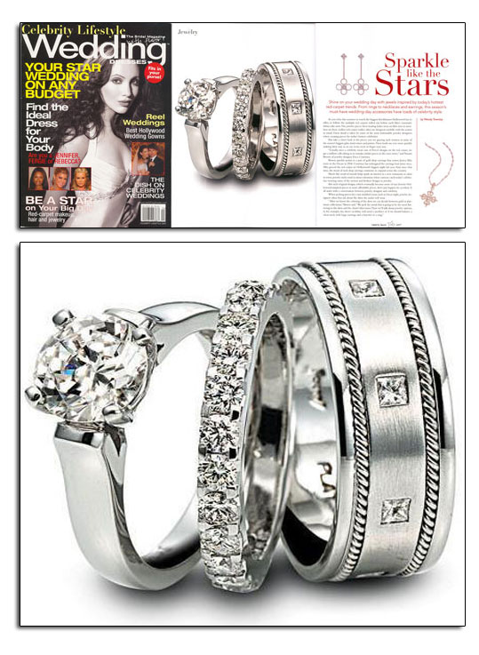 Classic platinum wedding bands and engagement ring as featured in Wedding Dresses magazine.