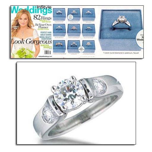 Platinum engagement ring featured in In Style Weddings.