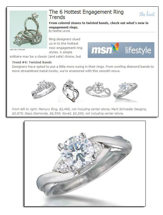Platinum engagement ring featured on MSN.com.