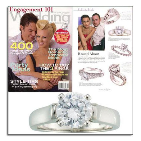 Platinum engagement ring featured in Engagement 101 bridal magazine.