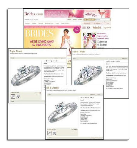 Platinum engagement rings featured on Brides.com.
