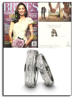 Engraved platinum wedding bands as featured in Brides magazine.