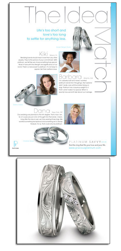 Platinum wedding bands featured in Platinum Guild's new campaign.