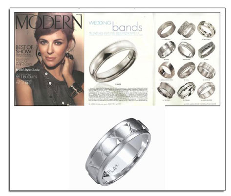Classic platinum wedding band featured in Modern Jeweler.
