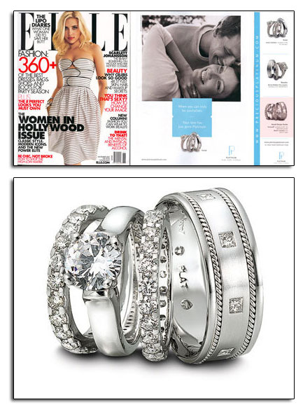 Platinum wedding bands and engagement ring as featured in Elle magazine.