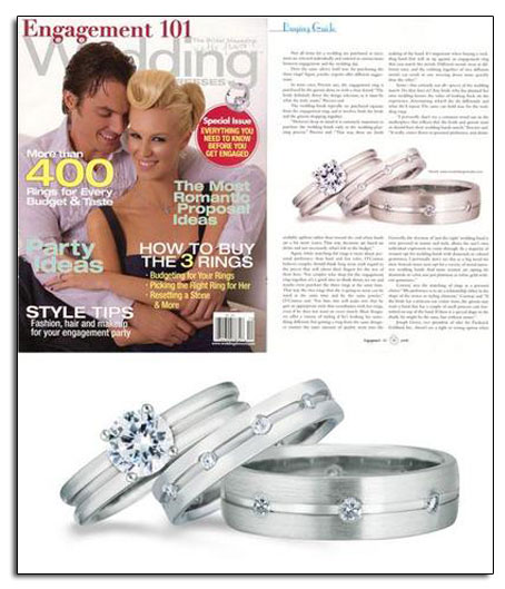 Platinum wedding bands in Engagement 101 bridal magazine.
