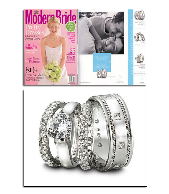Platinum wedding bands and engagement ring in Modern Bride.