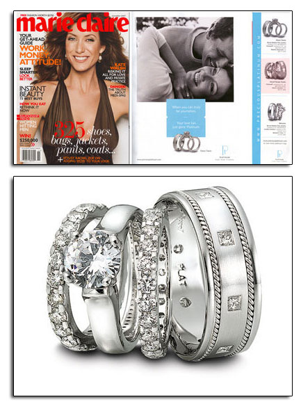 As seen in Marie Claire, classic platinum wedding bands and engagement ring from Novell.