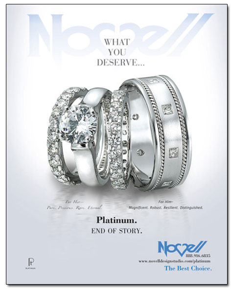 Platinum wedding bands and engagement ring featured in The Nest.