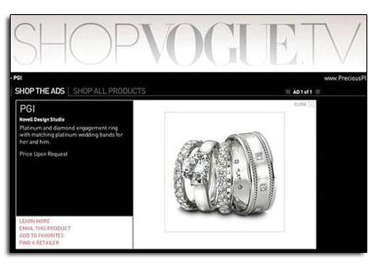 Platinum wedding bands and engagement ring featured on SopVogue.tv.