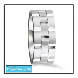 White gold wedding band featured on a leading bridal website - Engagement101Mag.com. This wedding band can also be made in platinum, palladium or yellow gold.