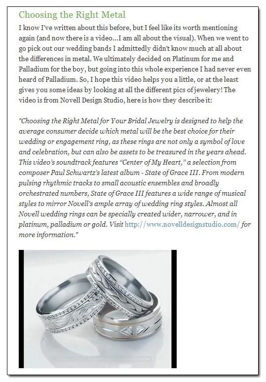 "With This Ring bridal blog highlighted Novell's ""Choosing the Right Metal for Your Bridal Jewelry"" video and brochure."