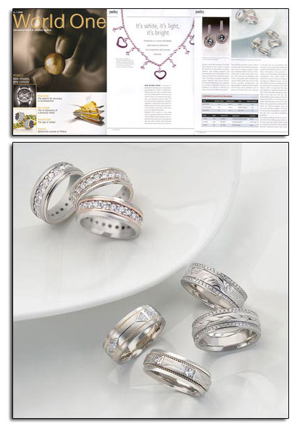 Palladium wedding bands featured in World One article about palladium.