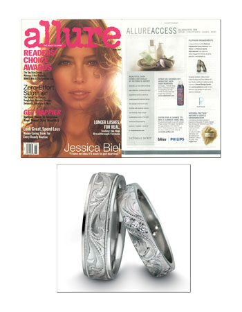 Engraved platinum wedding bands featured in Allure Magazine.