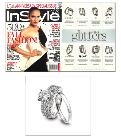 New platinum engagement ring featured in In Style.