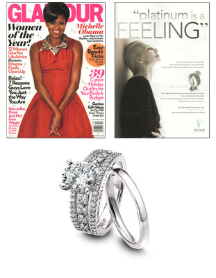 Platinum engagement ring as featured in Glamour magazine.