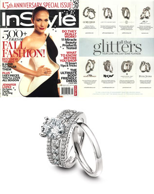 New platinum enagement ring featured in In Style fashion magazine,