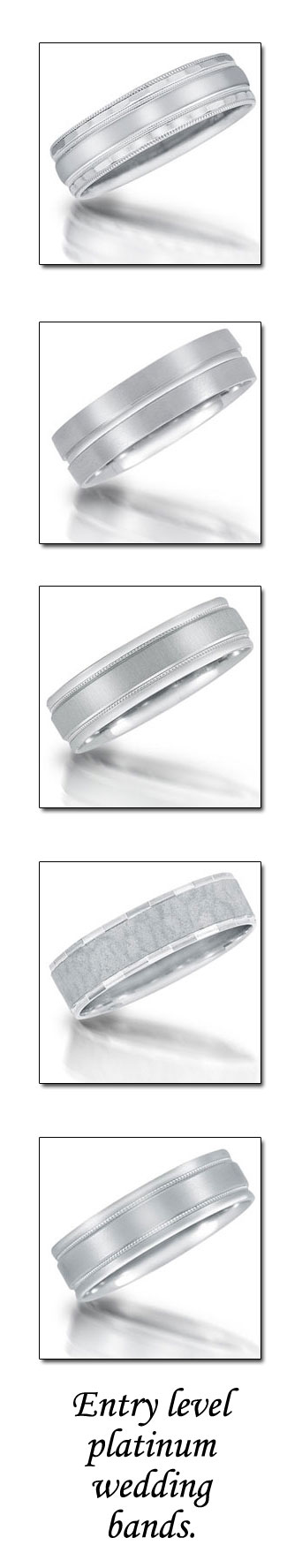 Platinum wedding bands by Novell (entry level).