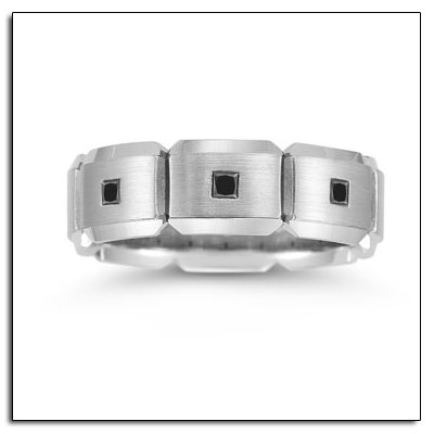 The L19857GC is palladium black diamond wedding ring that is 7mm wide and
