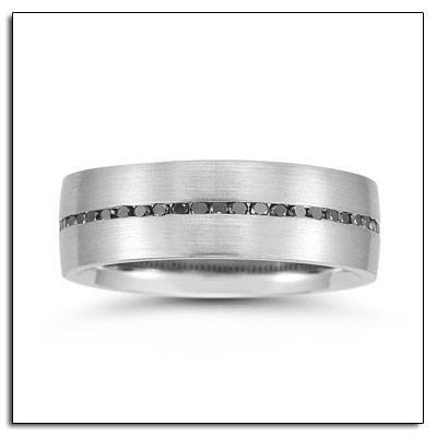 Palladium wedding band with black diamonds.