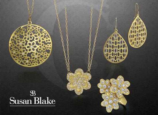 Gold jewelry by Susan Blake.