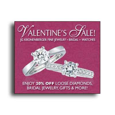 Valentine's Day sale at JG Kronenberger's.