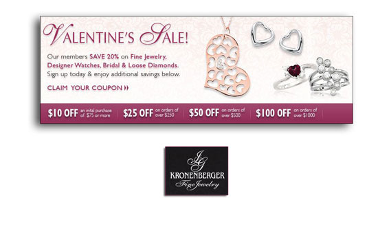 Valentine's Day sale at a NJ jewelry store.