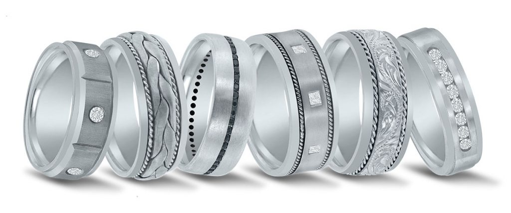 Platinum men's wedding bands by Novell.