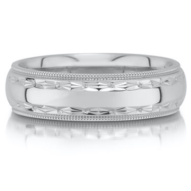 Wedding band C3023/6GW - 6mm - pictured in white gold, but can be made in platinum and palladium.