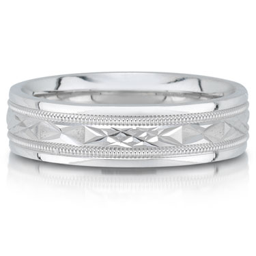 Wedding band C4371/6GW - 6mm - pictured in white gold, but can be made in platinum or palladium.