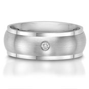 The C75604-8GA is a titanium wedding band with a 0.06 carat round brilliant cut diamond.