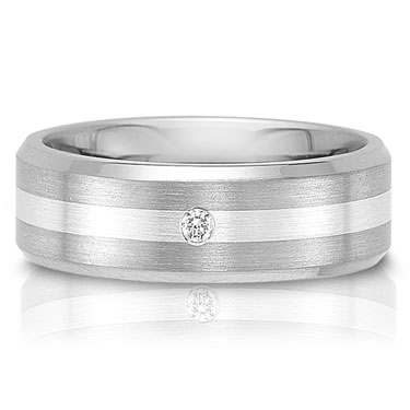 The C75606-7GGA is a titanium wedding band with a 0.06 carat round brilliant cut dia.