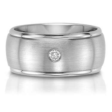 C75607-10GA - The C75607-10GA is a titanium wedding band with a 0.07 carat round brilliant cut diamo