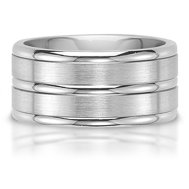 The C75608-10G is a titanium wedding band that has three rails with a bright finish.