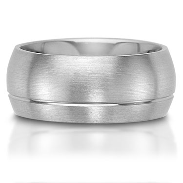 The C75609-9G is a titanium wedding band that has a single off-center groove.