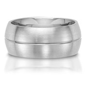 The C75610-10G is a titanium wedding band that has a single centered groove.