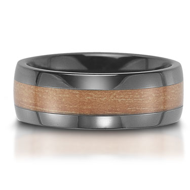 The C75800-8GC is a ceramic wedding band that is 8mm wide, and features orange carbon fiber inlay.