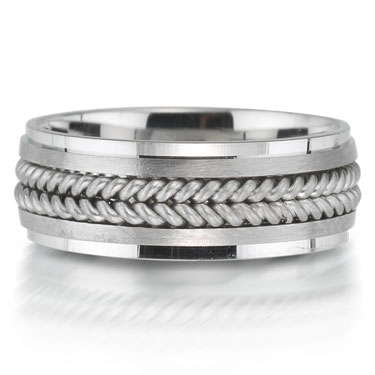 X2002/6GQP is a braided platinum-palladium combination wedding band that is 6mm wide.