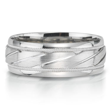 X2003-7GQP is a carved platinum-palladium combination wedding band that is 7mm wide.