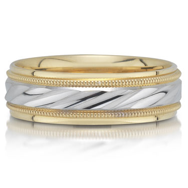 X4051/7GT is a two-tone wedding band that is 6mm wide.