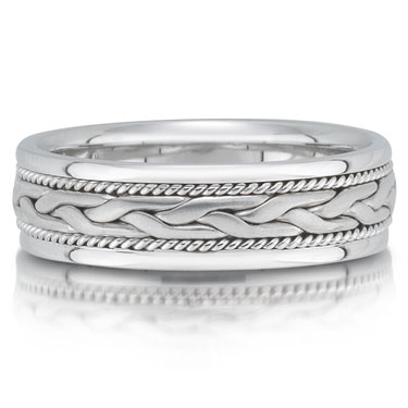 X4301/6GW is a braided wedding band that is 6mm wide.