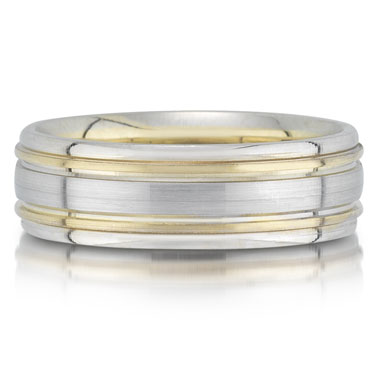 X4378/7GT is a two-tone wedding band that is 7mm wide.