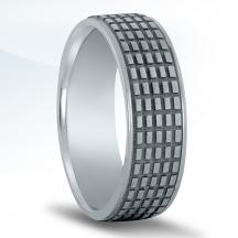 Men's Carved Wedding Band N16955 with Black Rhodium
