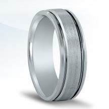 Men's Carved Wedding Band N17014 with Black Rhodium