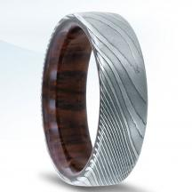 Damascus Steel Wedding Band N17325-7-DSWD  with Cocobolo Woodmascus Steel Wedding Band N17325-7-DSWD  with Cocobolo Wood
