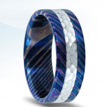Damascus Steel Wedding Band N17317-5.5-DS with Argentium Silver