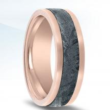 Rose Gold Wedding Band NT17379-7-FPME with Gibeon Meteorite Inlay