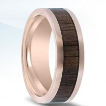 14kt Rose Gold Wedding Band NT17383-8-FPWD with Walnut Wood Inlay